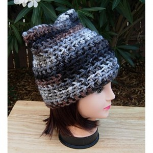 Women's Gray, Black, Brown, Off White Striped Pussy Cat Hat with Ears Soft Crochet Knit Winter Beanie, Cosplay, Girl Cat, Ready to Ship in 3 Days