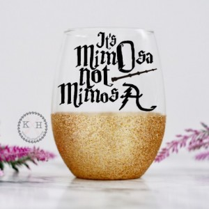 Potter Wine Glass, It's Mimosa Not Mimosa, Glitter Wine Glass, HP Bachelorette Party, HP Wedding, Wizard wine glass, Gifts for a nerd