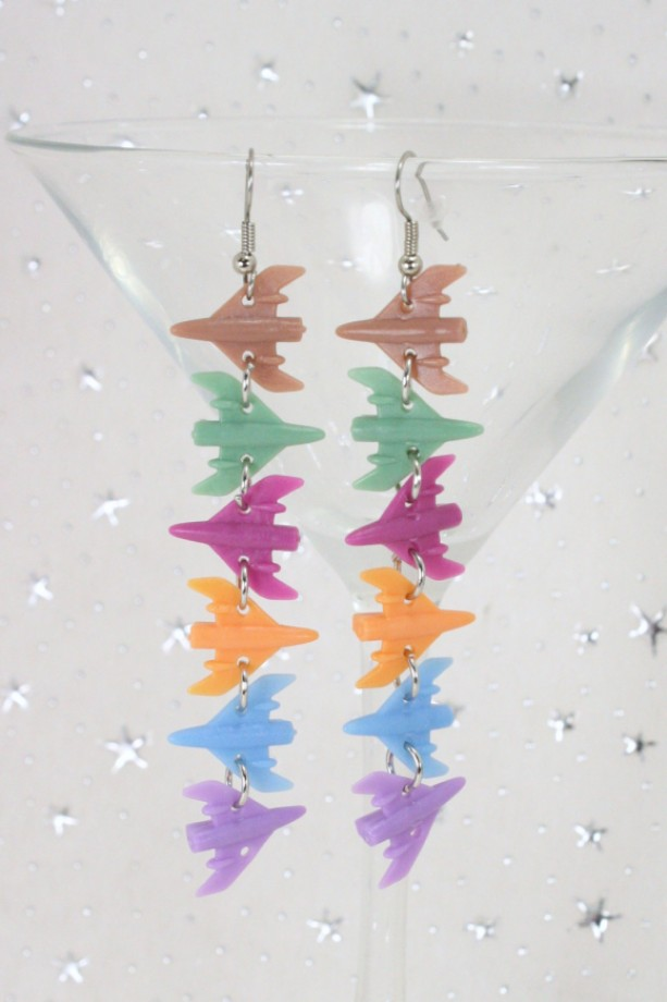 Star Fighter Ship Dangle Earrings - Upcycled Game Pieces - Air Force Pilot