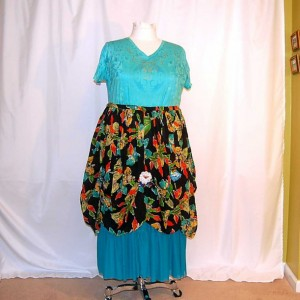 plus size dress 1X-3X blue with floral overskirt eco clothing altered refashioned upcycled restyled boho indie romantic lagenlook unique edgy
