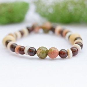 Stretch bracelet/brecciated Jasper, white shell rondelles, unakite beads/boho bohemian/Mens bracelet/Under 20 dollars/Nickel free