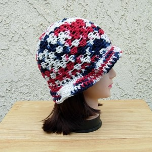 Red White and Blue Summer Beach Sun Hat, Patriotic 4th of July Cotton Lacy Women's Crochet Knit Beanie, Cap, with Brim, Ready to Ship in 3 Days