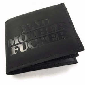 Mature,Mens Basic Bifold Wallet, Pull Out ID Sleave ID,Bad Mother F*cker, Window, Genuine Leather, Mens Wallet, Durable Wallet, Made in USA