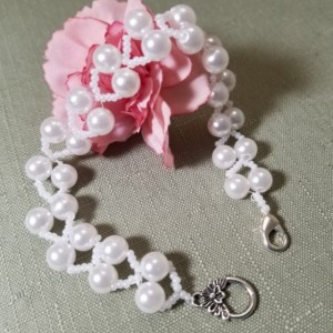 "Beaded Bracelet Wedding White Pearl LIGHTWEIGHT Beads 9"" Jewelry"