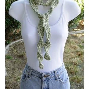Green and Off White Skinny SUMMER SCARF Small 100% Cotton Spiral Crochet Knit Narrow Lightweight Twists, Women's , Ready to Ship in 3 Days