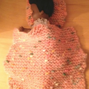 Puffy Pink Doll Baby Blanket and Pillow Set