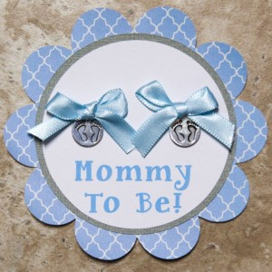 Twins Baby footprint Theme Name Tag Button Pin- (Quantity 4)