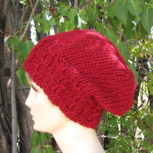 Berry Red Slouchy Wool Beanie