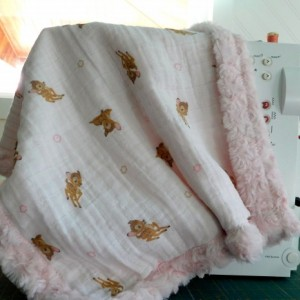 "Baby gift for girl...baby/toddler blanket- tag along blanket-bambi embrase/pink minky-18""×18"""