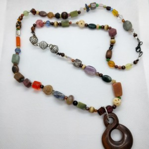 Colorful Varied Beaded Yoga Inspired Necklace with Wood Pendant by Cumulus Luci