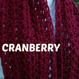 Large Dark Solid Red INFINITY SCARF Crochet Loop, Oversized Cowl, COLOR Options, Bulky Chunky Wide Soft Wool Blend Knit Winter Circle Big Cranberry Red Scarf, Ready to Ship in 3 Days