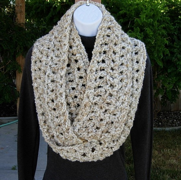 INFINITY SCARF Loop Cowl Ivory, Off White, Beige Long Thick Extra Soft Crochet Knit Circle Winter Wrap, Neck Warmer..Ready to Ship in 3 Days