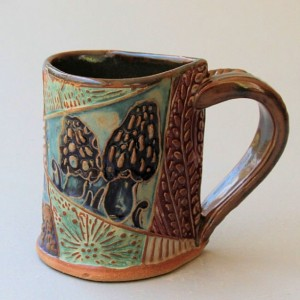 Morel Mushroom Pottery Mug Coffee Cup Handmade Stoneware Tableware Microwave and Dishwasher Safe 12oz