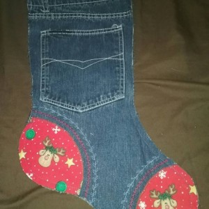 Recycled Jeans Christmas Stocking