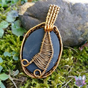 Onyx(Natural) Wire Weave Pendant / Festival Jewelry / Natural Gemstone / Onyx Pendant