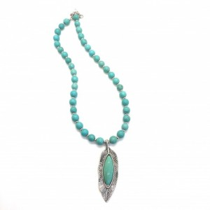 Southwestern Turquoise colored necklace with leaf pendant