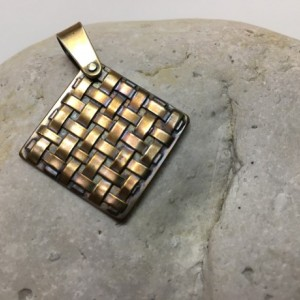 Silver Square Lattice Pendant—Patina