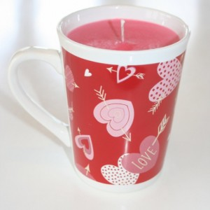 Valentine's Day Red and White Hearts and Arrow Watermelon Lemonade Scented 15 oz Pink Soy Wax Mug Candle