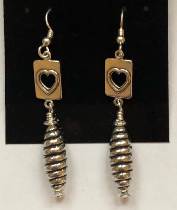 Sterling silver dangle drop earrings with cut-out heart motif