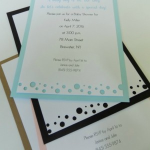 "Hand-cut Layered Invitation in ""bubbles"" Style-Pack of 10-Perfect for Showers, Weddings, Sweet 16, Birthday, etc. Several Colors Available"