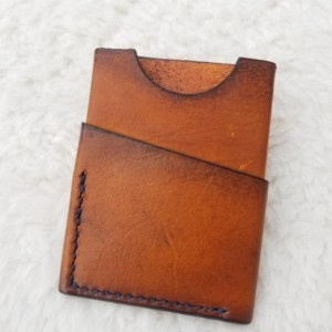 Leather Card Wallet Light brown with navy blue thread