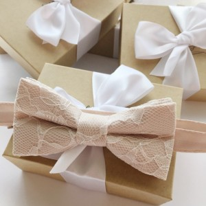 Champagne and Ivory Bow Tie