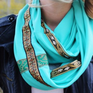 Teal Green Bohemian Infinity Accented with three Aztec Ribbon Trims of Various Patterns - Green, Gold, White, Black, Orange
