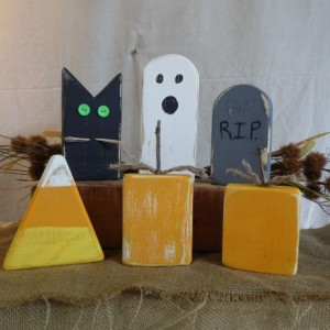 Six Pack of Wooden Halloween Decorations, Wooden Pumpkins, Cute Wooden Halloween Decorations, Rustic Halloween Decor, Rustic Home Decor