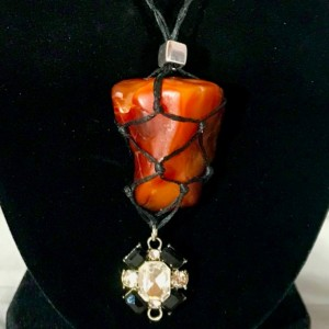 CARNELIAN with DRUZY Crystal Healing Necklace with a Black and Clear Rhinestone Jewel