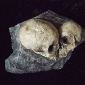 Love Rock Human Skulls Macabre Home Indoor Dungeon Decor Halloween Haunt Creepy Dead Eternal Kiss Fossil Bones Grave Prop Gothic Dark Garden