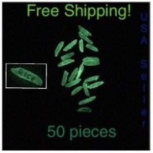 Glow in the dark rice for personalized name on rice accessories
