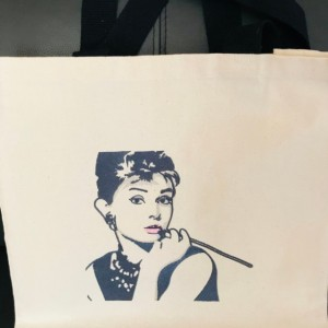 AUDREY HEPBURN  WOW Embroidered Canvas Tote Bag. Canvas Tote for Yourself or a Personal Gift. Great for Market Day or Anytime You Want