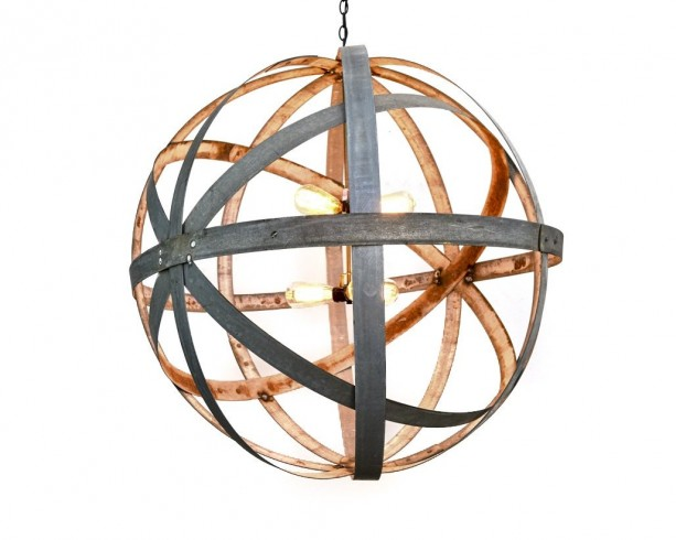 ATOM Collection - Colossus -  Barrel Ring Chandelier / made from retired Napa wine barrel rings - 100% Recycled!