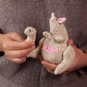 Sock Kangaroo Toy - Stuffed Animal Doll, Small Personalized Gift for Babies, Kids or Women, Soft and Handmade
