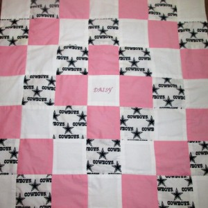 Brand New Handmade Pink DALLAS COWBOYS Baby Quilt  (Embroidered Name Added Free)