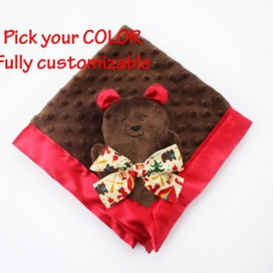 Brown Minky Bear Security Blanket, Teddy bear Lovey, Satin Baby Blanket, Stuffed Animal, Baby Toy - Customize Color - Monogramming Available