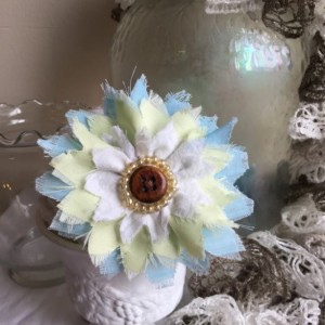 Shabby Chic Frayed Floral Barette Pin