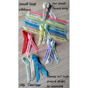 "10 Mini Personalized Ribbons for any event 3/8"" wide (unassembled)"