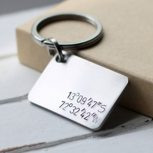 Stainless Steel Coordinates Hand Stamped Key Chain