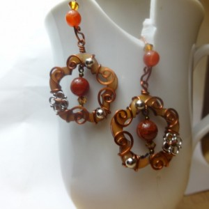Flower with Arabesque-Style Vines Earrings