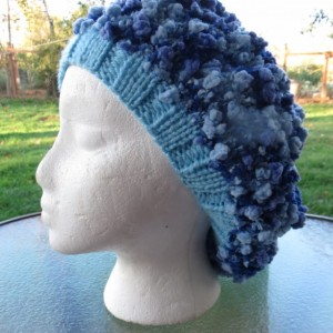 Slouch Beanie Beret Hat Hand Knitted - HORSETAIL FALLS by Kat