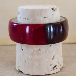 Walnut and Red Resin Ring