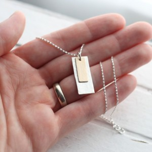 Layered Silver and Gold Hammered Rectangle Necklace