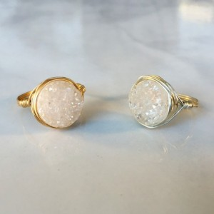 White Druzy Ring, in Silver or Gold