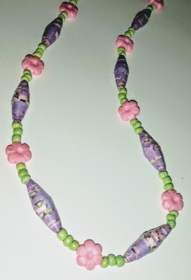 """Spring"" Paper Bead Earring and Necklace Set"
