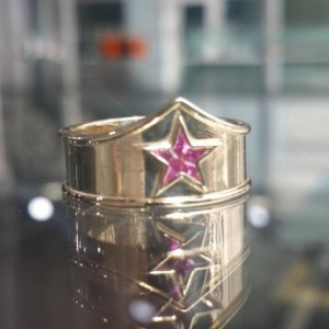 Wonder Woman Band, Custom Made Ring, Star Ring For Her, Wonder Woman Jewelry, Pink Jewelry, Yellow Gold  Sterling Silver Ring