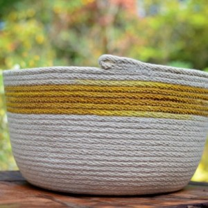 large coiled rope basket