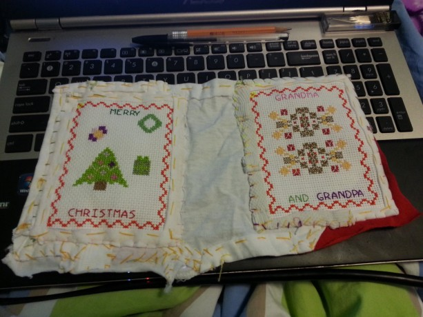 Merry Christmas Grandma and Grandpa Cross-Stitched Card