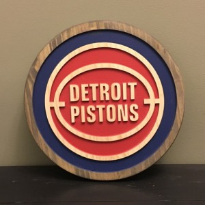 Detroit Pistons Wood Carved Signs