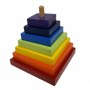 Montessori Wooden Graded Tower - Square Shape Stacker & Sorter - Wooden Square Pyramid - SS102